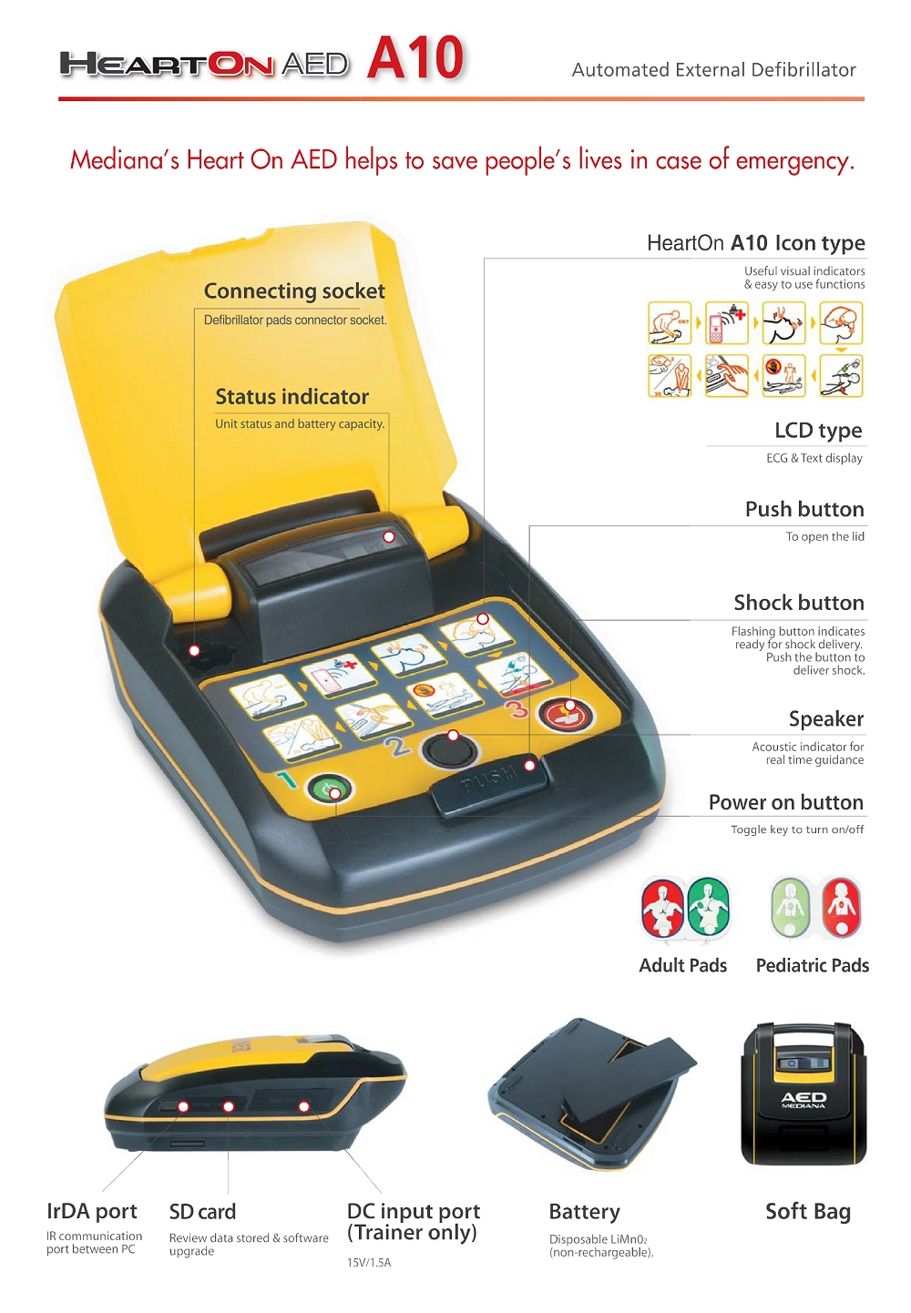 automated external defibrillator aed for cardiac arrest